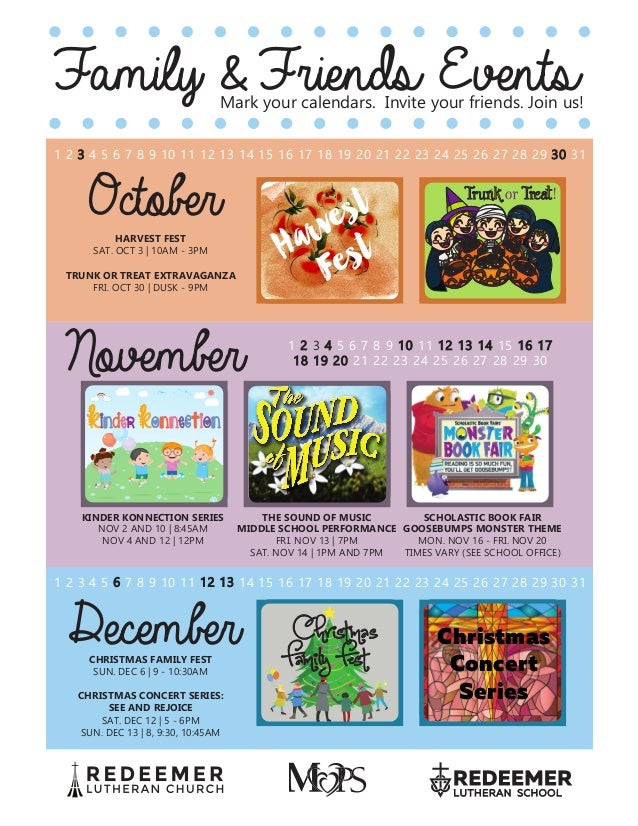 Public Calendar Of Family Fun Events Flyer