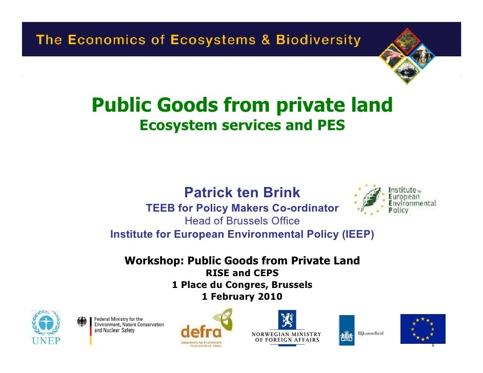 Public Goods from private land       Ecosystem services and PES                  Patrick ten Brink          TEEB for Polic...
