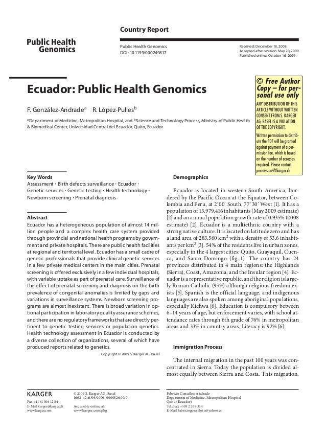 Fax +41 61 306 12 34 E-Mail karger@karger.ch www.karger.com Country Report Public Health Genomics DOI: 10.1159/000249817 E...