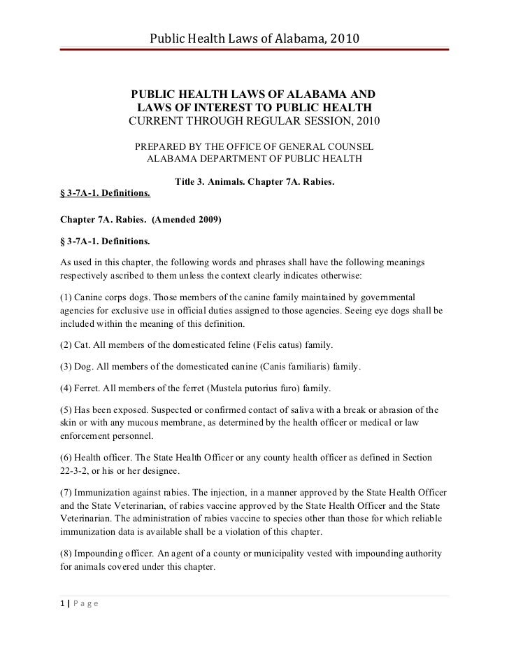 Public Health Laws of Alabama, 2010                 PUBLIC HEALTH LAWS OF ALABAMA AND                  LAWS OF INTEREST TO...