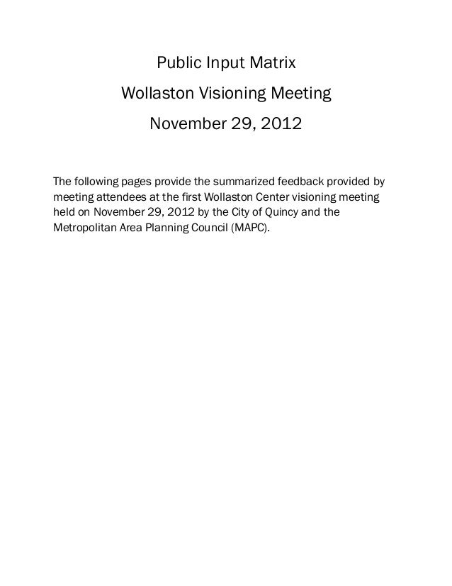Public Input Matrix             Wollaston Visioning Meeting                  November 29, 2012The following pages provide ...