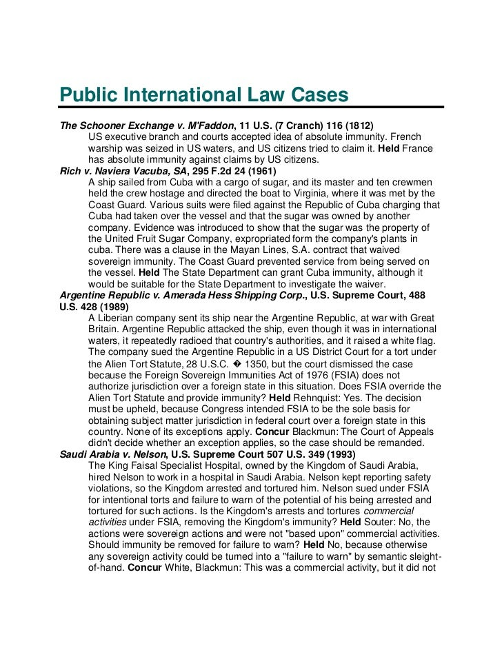 case study of public international law Assignment samples & case study of public international law that are involved in this case special status as is provided in case of international.
