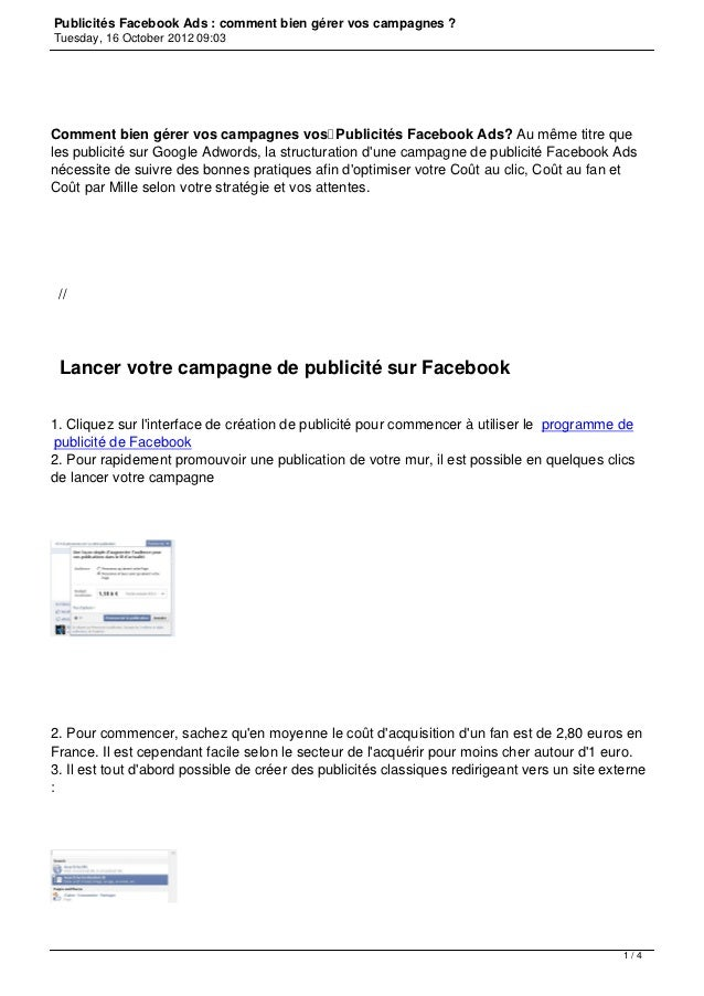 Publicités Facebook Ads : comment bien gérer vos campagnes ?Tuesday, 16 October 2012 09:03Comment bien gérer vos campagnes...