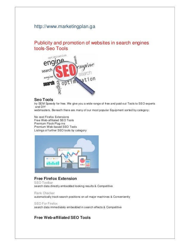 Publicity and promotion of websites in search engines tools-Seo Tools