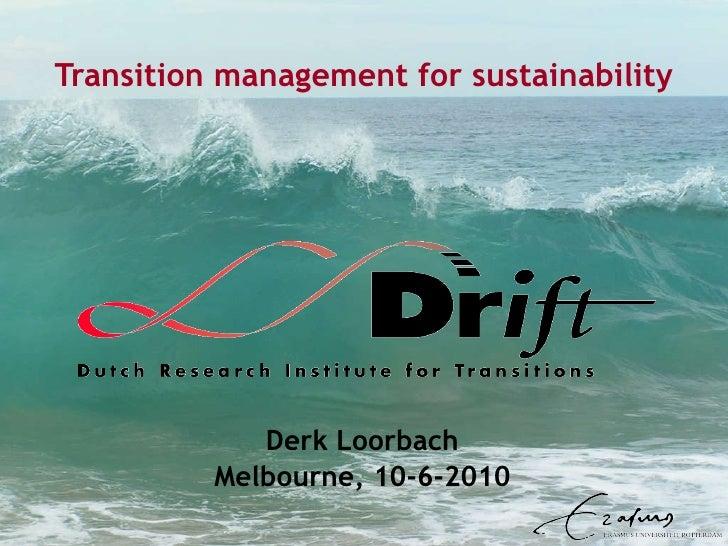 Transition management for sustainability Derk Loorbach Melbourne, 10-6-2010