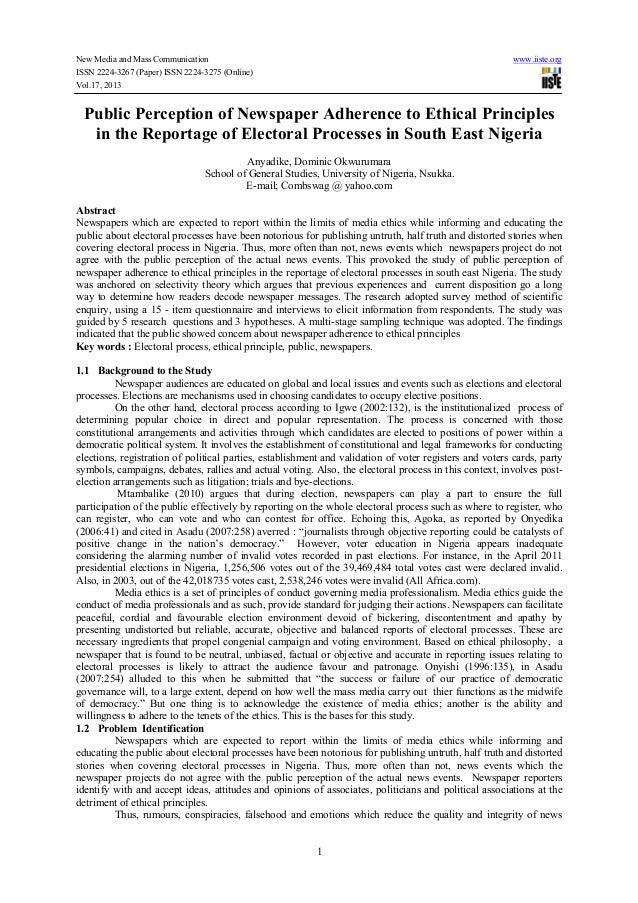New Media and Mass Communication ISSN 2224-3267 (Paper) ISSN 2224-3275 (Online) Vol.17, 2013  www.iiste.org  Public Percep...