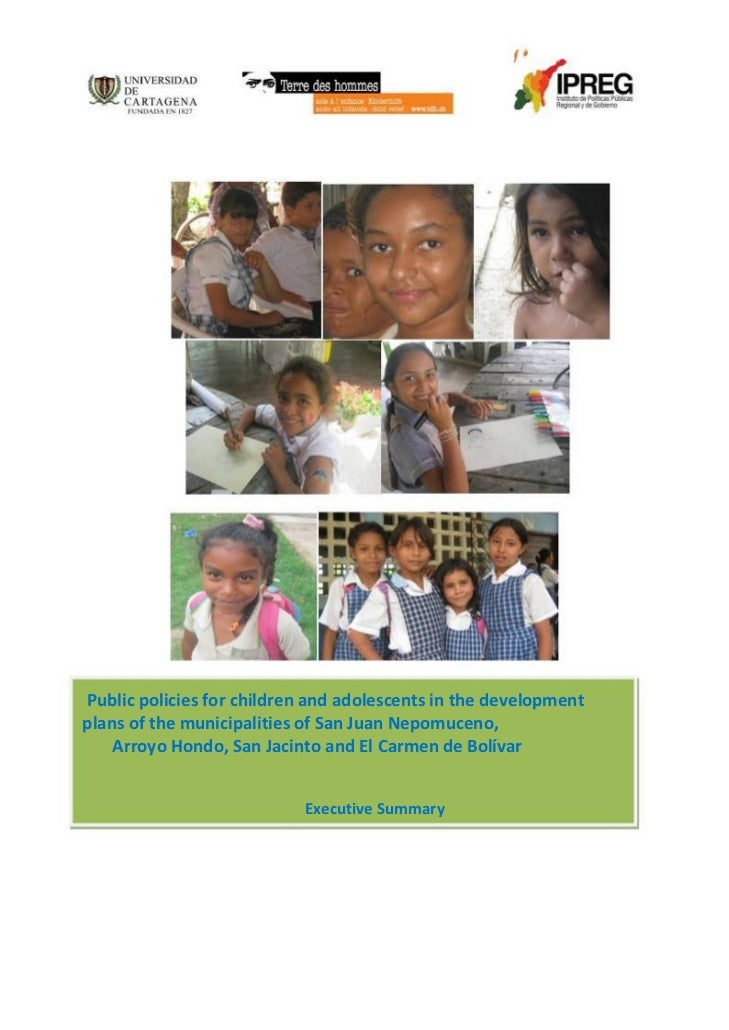 Public policies for children 4 municipalities, Cartagena (Colombia)