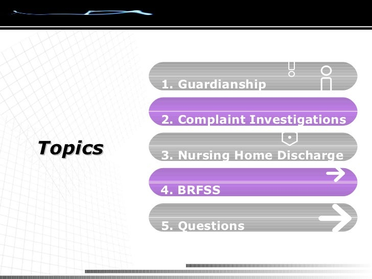 Topics 1. Guardianship 2. Complaint Investigations 3. Nursing Home Discharge 5. Questions 4. BRFSS