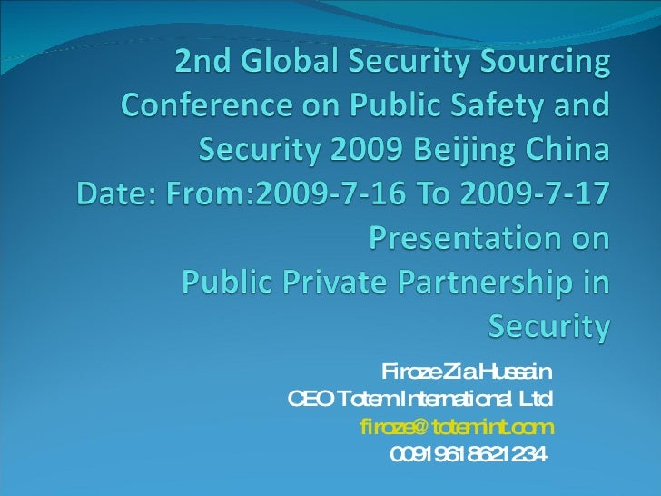 Public Private Partnership In Security China Presentation