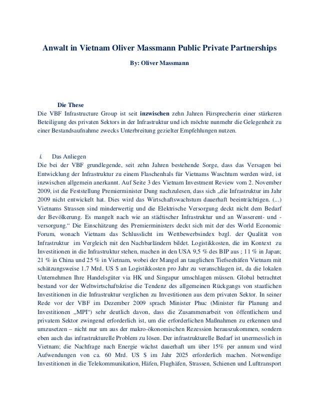 Anwalt in Vietnam Oliver Massmann Public Private Partnerships By: Oliver Massmann Die These Die VBF Infrastructure Group i...