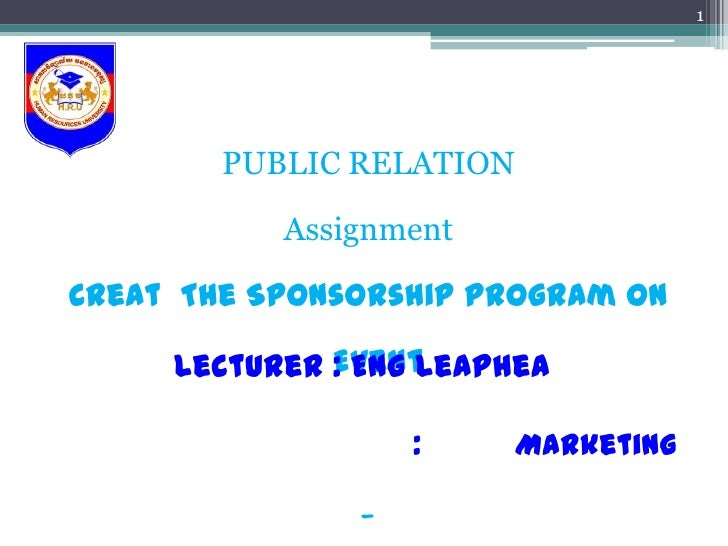 Public relation assignment spnsorship on Special Event