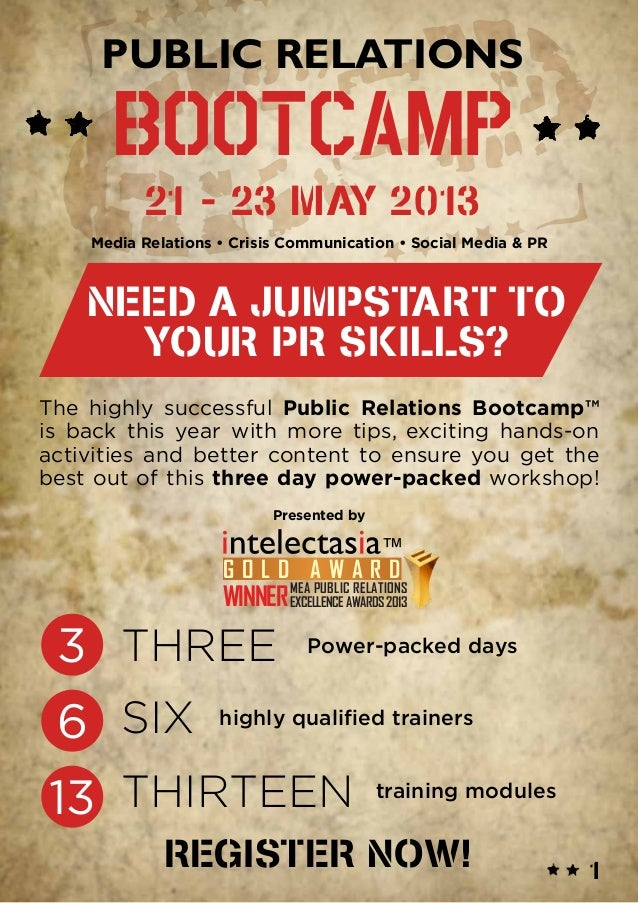Public Relations Bootcamp 21-23 May 2013