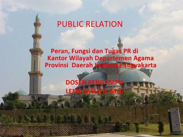 Peran, Fungsi dan Tugas PR di Kantor Wilayah Departemen Agama Provinsi  Daerah Istimewa Yogyakarta