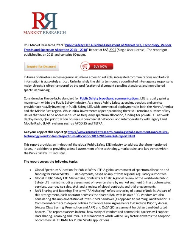 """RnR Market Research Offers """"Public Safety LTE: A Global Assessment of Market Size, Technology, VendorTrends and Spectrum A..."""