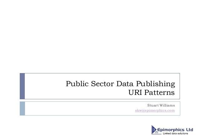 Public Sector Data Publishing URI Patterns Stuart Williams skw@epimorphics.com