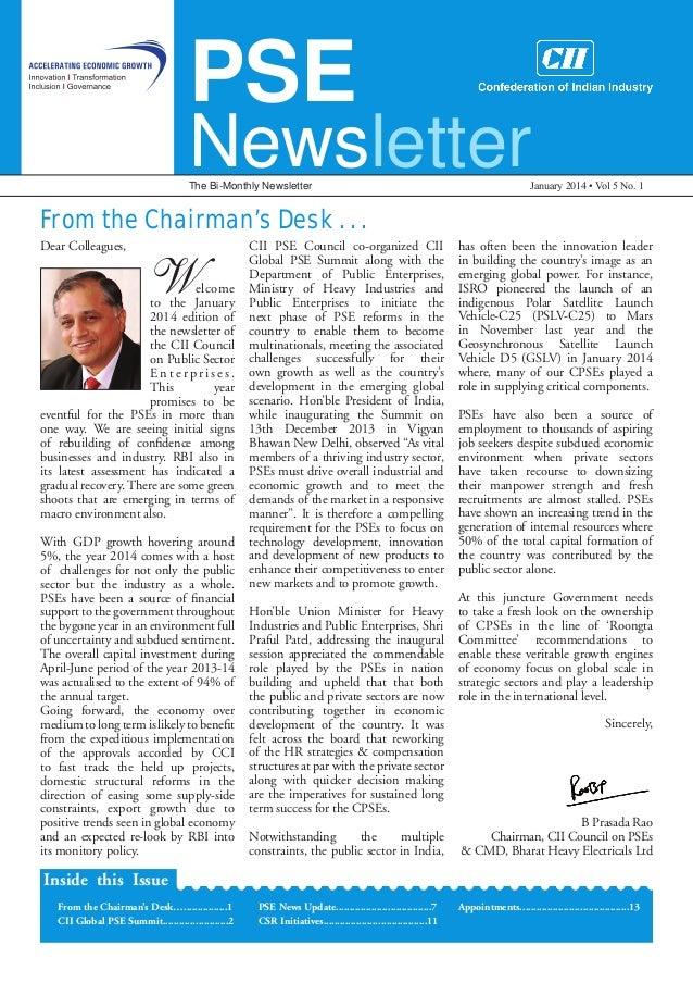 Public Sector Enterprises Newsletter, January 2014