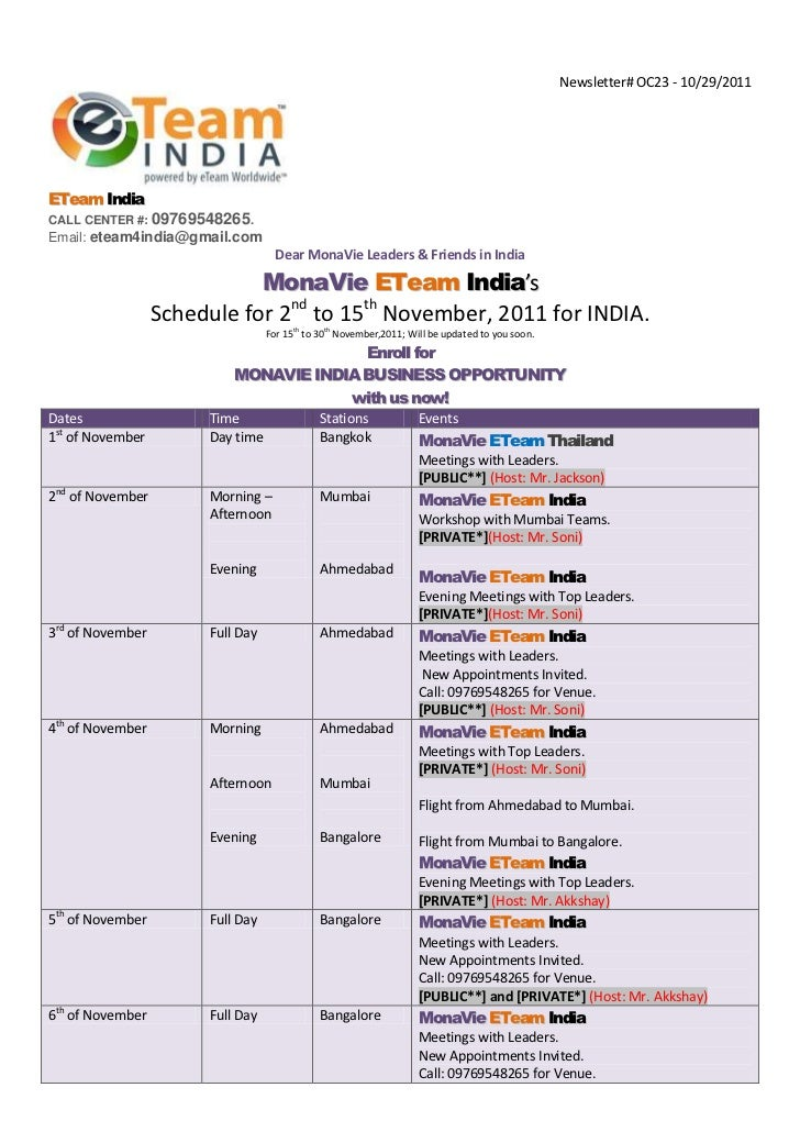 MEET US MONAVIE ETEAM INDIA IS COMING in your CITY- Public Schedule Chart for November First Half