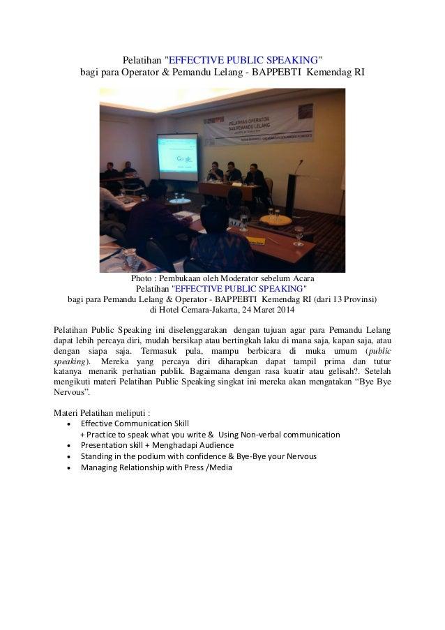 """Kanaidi, SE., M.Si., cSAP pada Pelatihan """"EFFECTIVE PUBLIC SPEAKING"""" bagi para Operator & Pemandu Lelang - BAPPEBTI  Kemendag RI"""