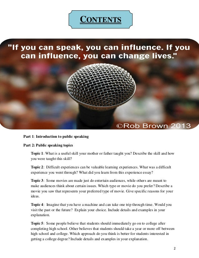 Public speaking examples essay
