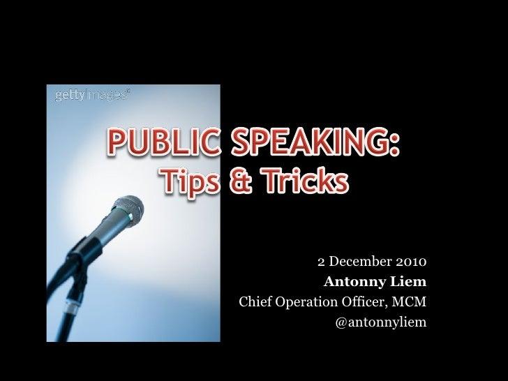 2 December 2010             Antonny LiemChief Operation Officer, MCM               @antonnyliem