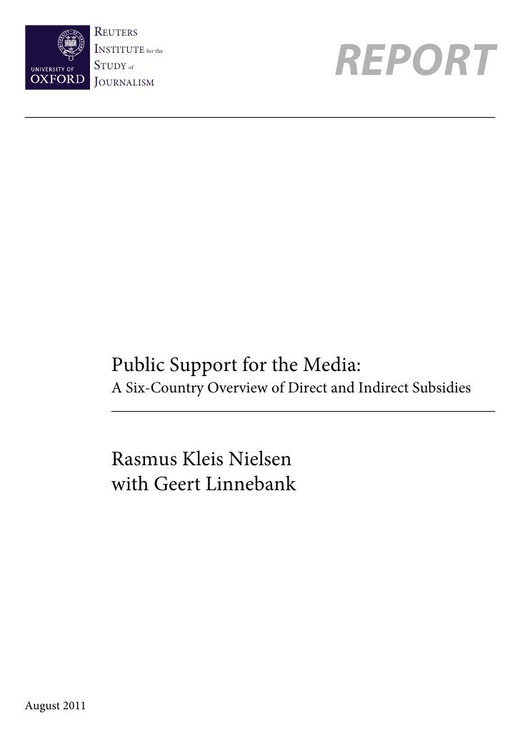 Public support for Media: Six-Country Overview of Direct and Indirect Subsidies