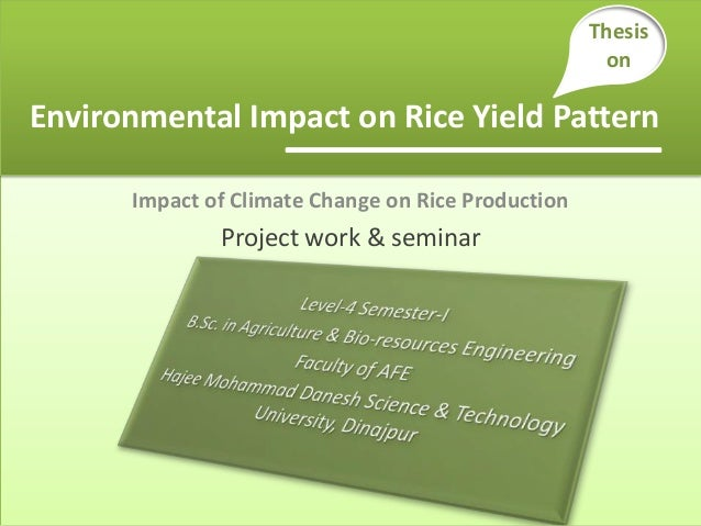Impact of Climate Change on Rice Production Project work & seminar Environmental Impact on Rice Yield Pattern Thesis on
