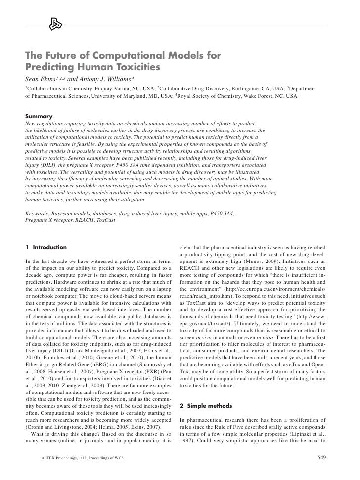 The Future of Computational Models forPredicting Human ToxicitiesSean Ekins 1,2,3 and Antony J. Williams 41Collaborationsi...