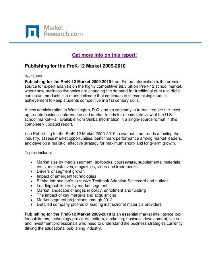 Publishing for the pre k 12 market 2009-2010