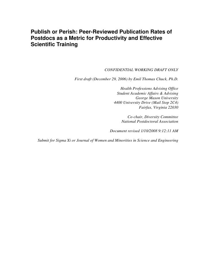 Publish or Perish: Peer-Reviewed Publication Rates of Postdocs as a Metric for Productivity and Effective Scientific Train...