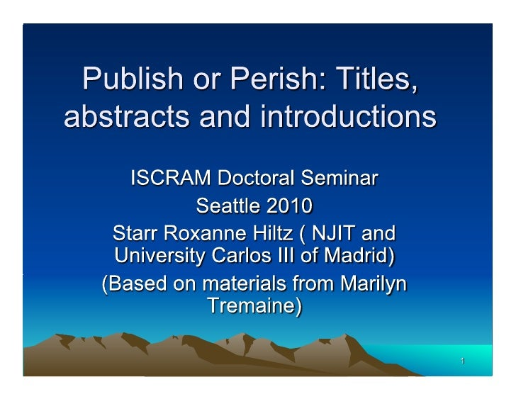 Publish or perish: titles, abstracts and introductions