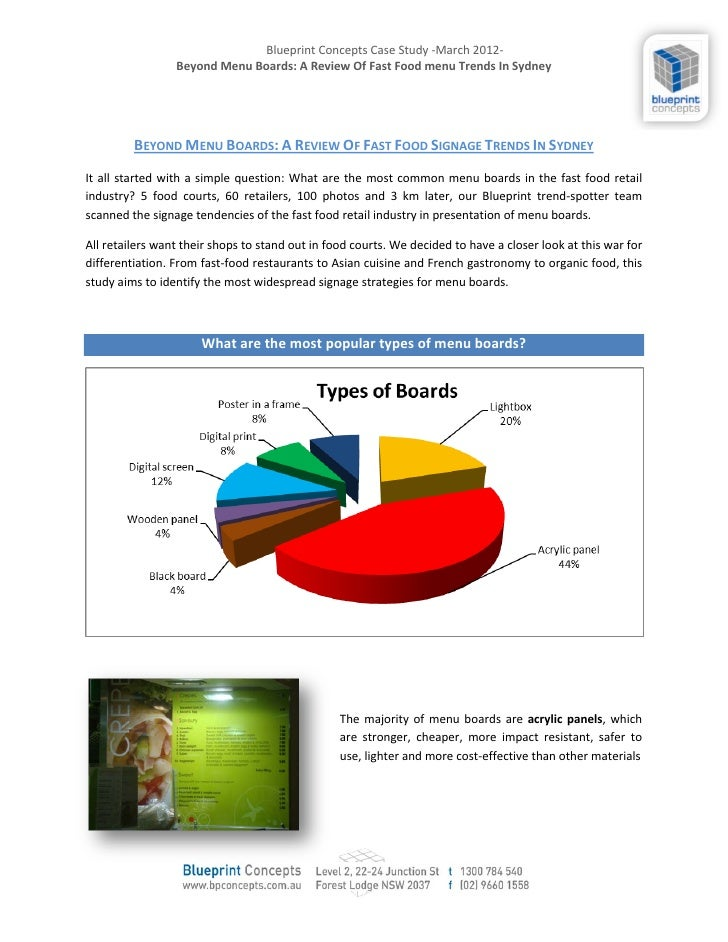 Blueprint Concepts Case Study -March 2012-                 Beyond Menu Boards: A Review Of Fast Food menu Trends In Sydney...