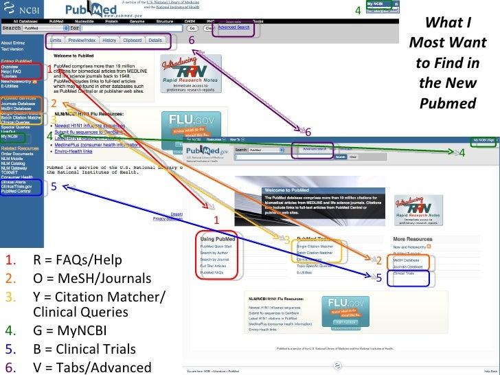 What I Most Want to Find in the New Pubmed <ul><li>R = FAQs/Help  </li></ul><ul><li>O = MeSH/Journals </li></ul><ul><li>Y ...