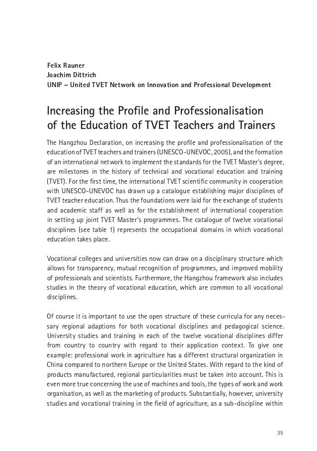 Increasing the Profile and Professionalisation of the Education of TVET Teachers and Trainers