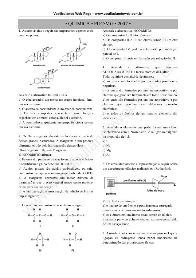 Vestibulando Web Page – www.vestibulandoweb.com.br - QUÍMICA - PUC-MG - 2007 - 1. As substâncias a seguir são importantes ...