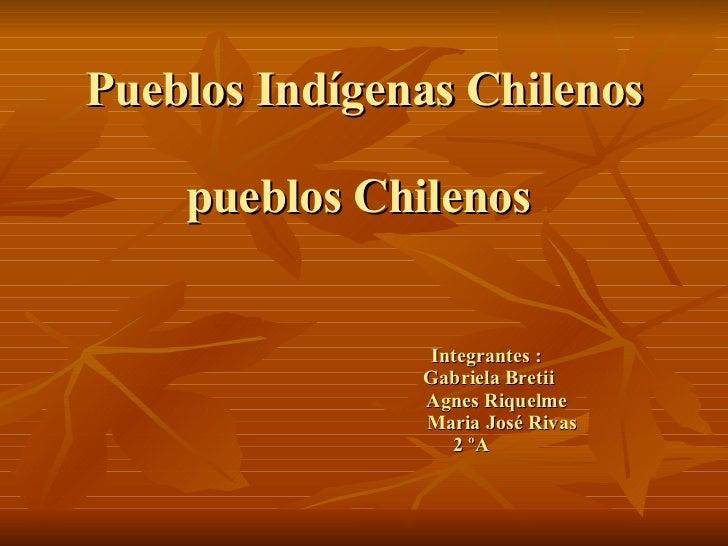 Pueblos Indígenas Chilenos pueblos Chilenos      Integrantes :   Gabriela Bretii   Agnes Riquelme   Maria José Rivas   2 ºA