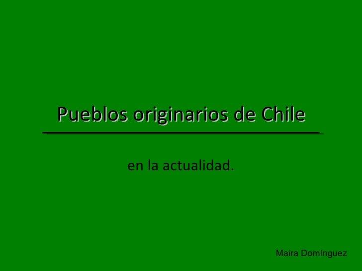 Pueblos originarios de Chile en la actualidad. Maira Domínguez