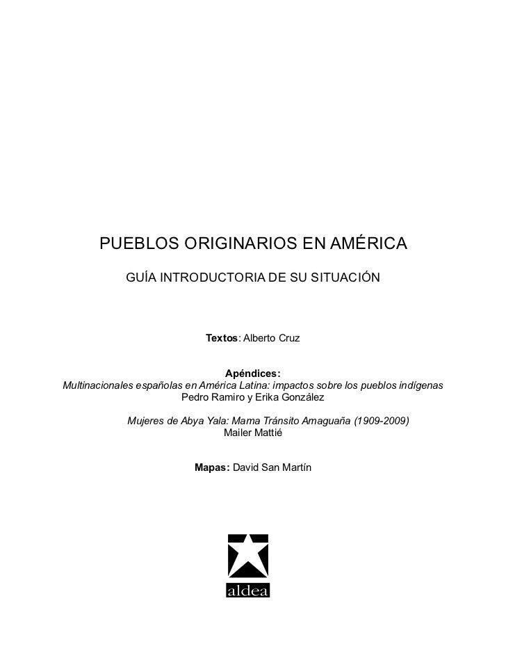 REALIDAD DE LOS PUEBLOS ORIGINARIOS EN AMÉRICA