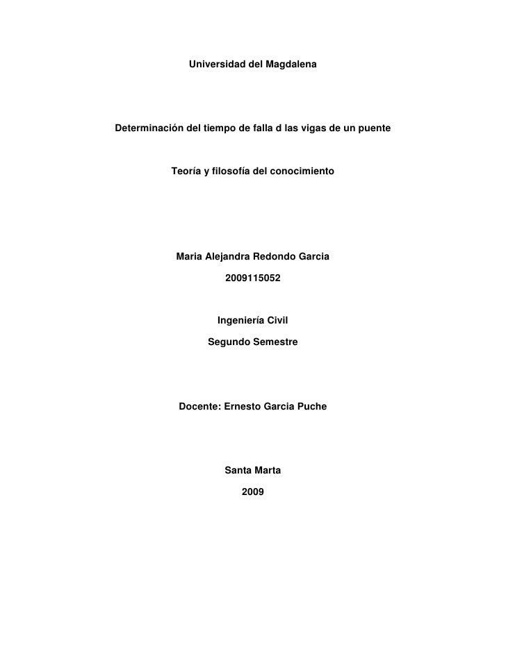 Universidad del Magdalena<br />Determinación del tiempo de falla d las vigas de un puente<br />Teoría y filosofía del cono...