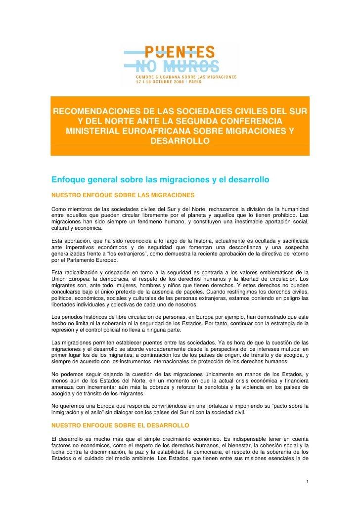 RECOMENDACIONES DE LAS SOCIEDADES CIVILES DEL SUR     Y DEL NORTE ANTE LA SEGUNDA CONFERENCIA   MINISTERIAL EUROAFRICANA S...