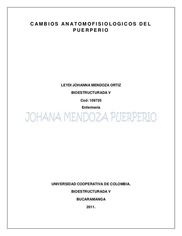 CAMBIOS ANATOMOFISIOLOGICOS DEL PUERPERIO<br />LEYDI JOHANNA MENDOZA ORTIZ<br />BIOESTRUCTURADA V<br />Cod: 109735<br />En...