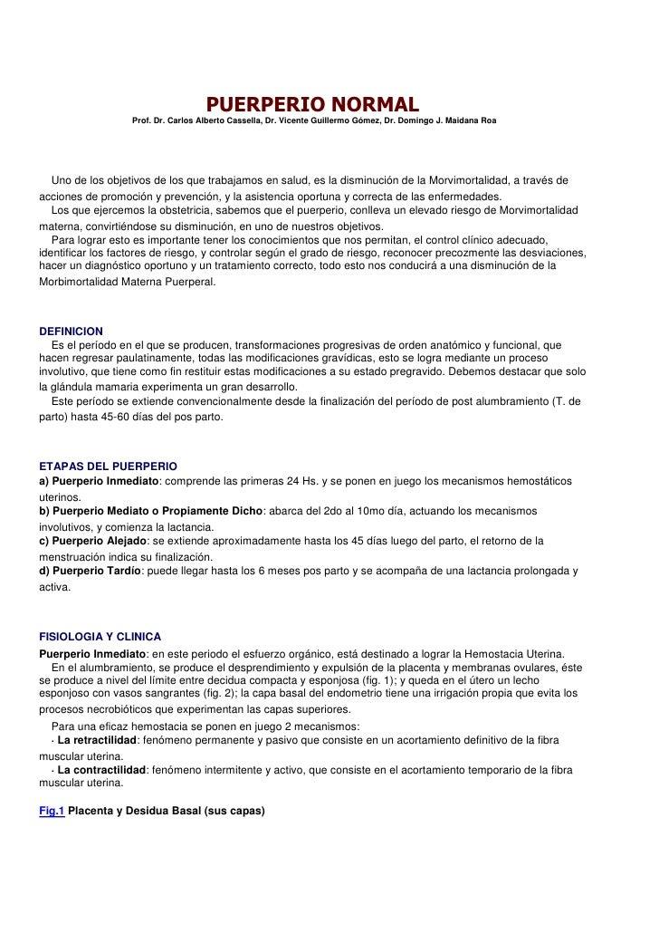 PUERPERIO NORMAL                   Prof. Dr. Carlos Alberto Cassella, Dr. Vicente Guillermo Gómez, Dr. Domingo J. Maidana ...