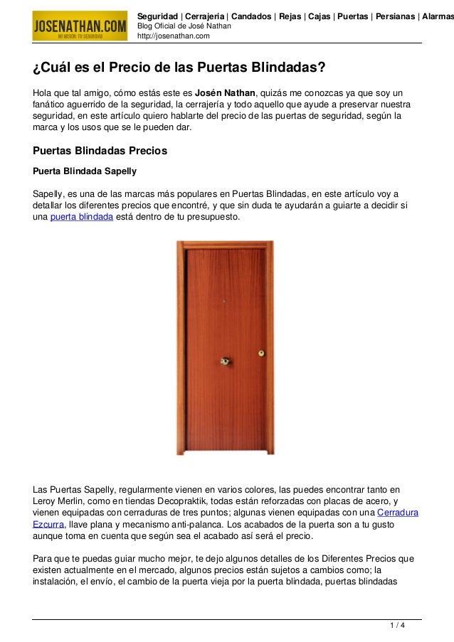 Puertas blindadas precio - Precio de puertas blindadas ...