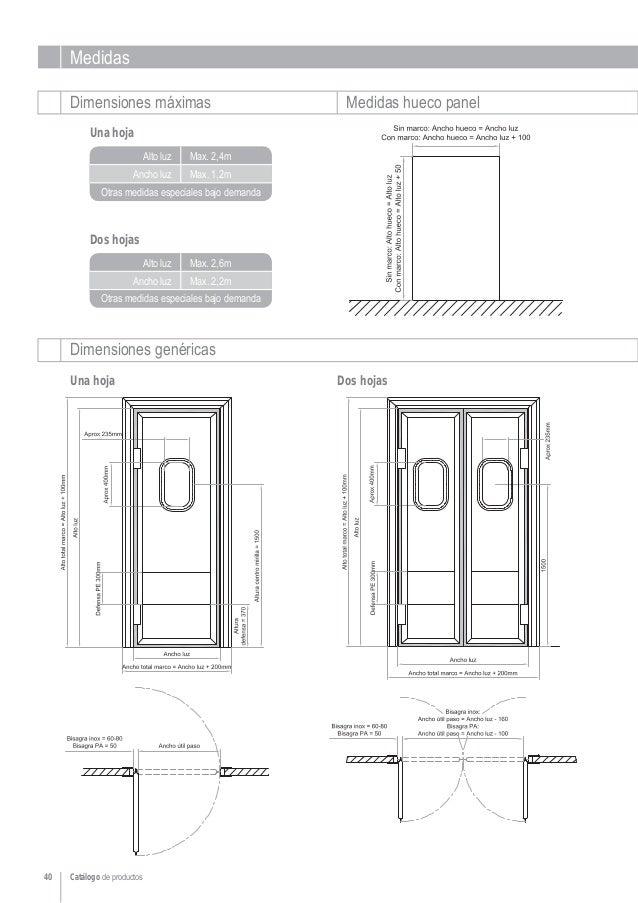 Puertas vaiv n para c maras frigor ficas for Medidas puertas interior