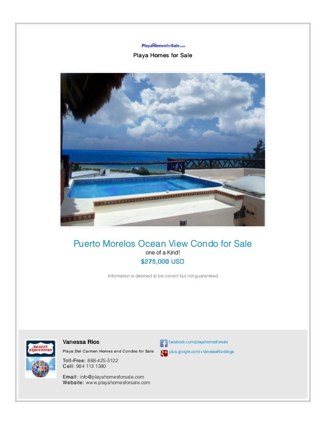 Playa Homes for Sale Puerto Morelos Ocean View Condo for Sale one of a Kind! $275,000 USD Information is deemed to be corr...