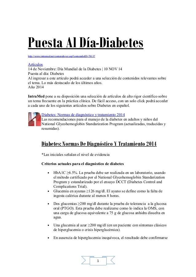 Puesta Al Día-Diabetes  http://www.intramed.net/contenidover.asp?contenidoID=78137  Artículos  14 de Noviembre: Día Mundia...