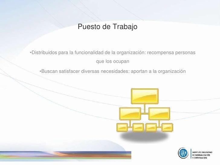 Puesto de Trabajo   •Distribuidos para la funcionalidad de la organización: recompensa personas                           ...