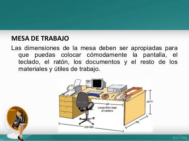 Puesto de trabajo for Dimensiones mesa de trabajo