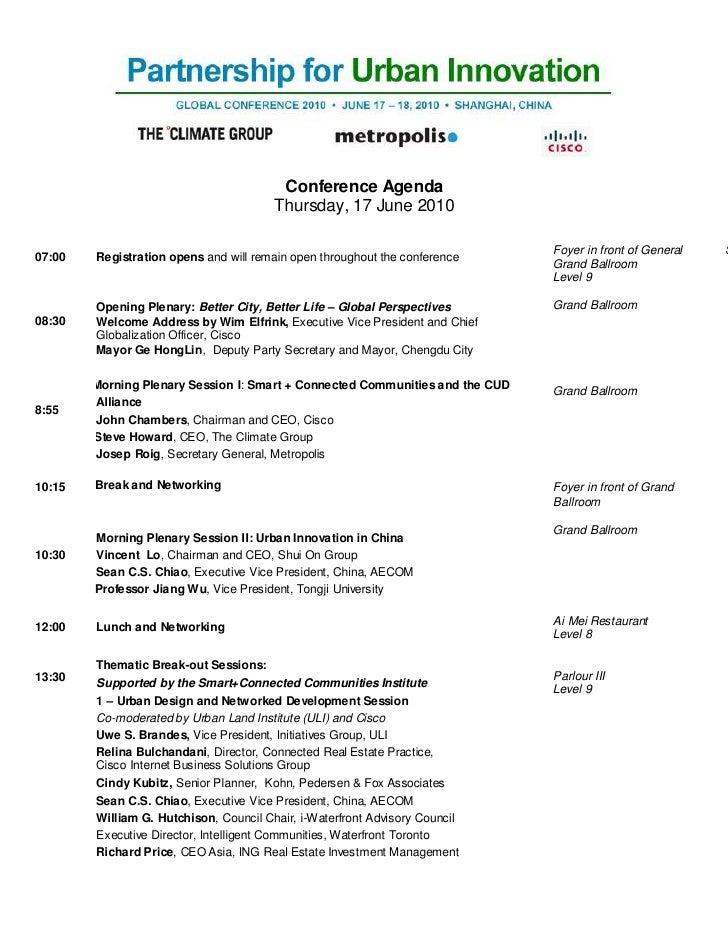 Conference Agenda                                         Thursday, 17 June 2010                                          ...