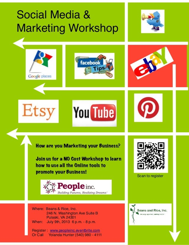 Social Media &Marketing WorkshopHow are you Marketing your Business?Join us for a NO Cost Workshop to learnhow to use all ...