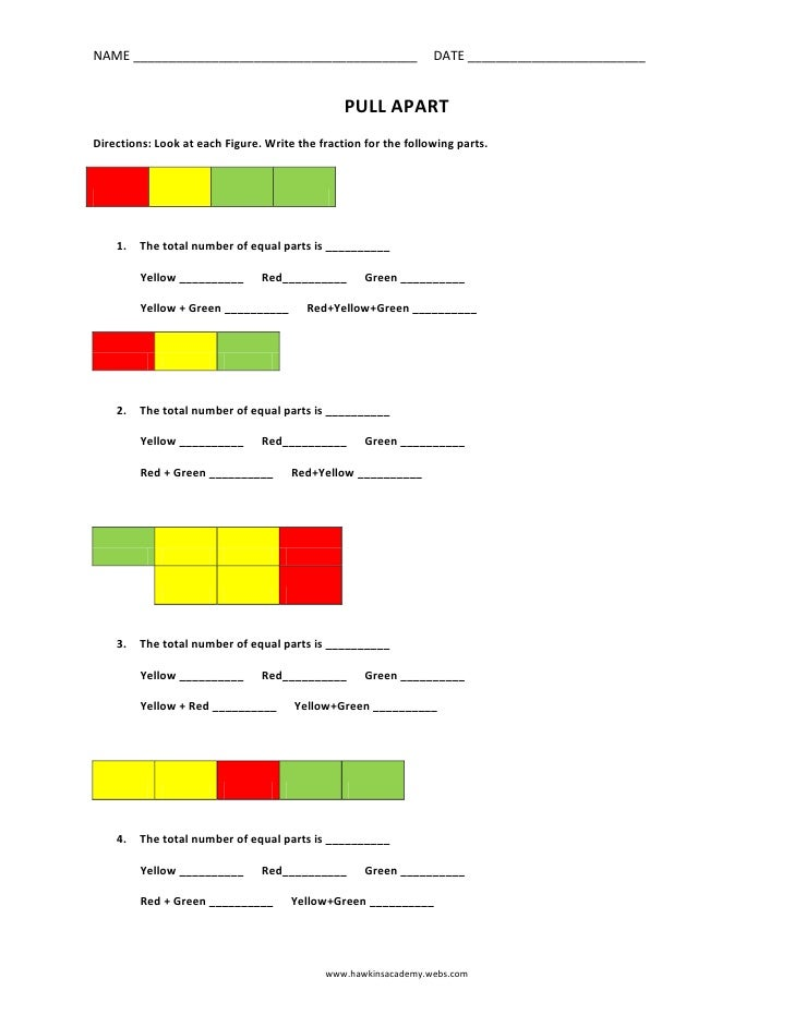 PULL APART<br />Directions: Look at each Figure. Write the fraction for the following parts.<br /><br />  <br /><ul><l...